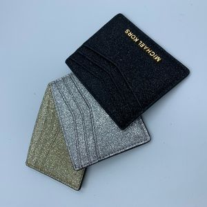 Set of 3 Michael Kors sparkly card holders